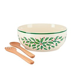 Lenox® Holiday Salad Bowl with Wooden Servers