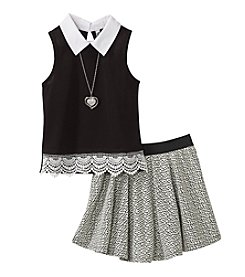 Beautees Girls' 7-16 Sleeveless Top With Scooter Set