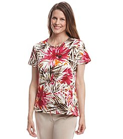 Alfred Dunner® Indian Summer Tropical Leaf Print Knit Top