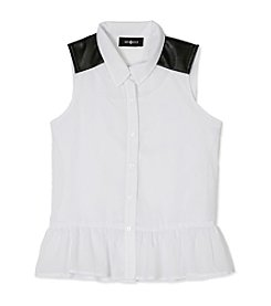 Amy Byer Girls' 7-16 Button Front Peplum Top