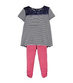 Chaps® Girls' 4-6X Striped Top With Leggings Set