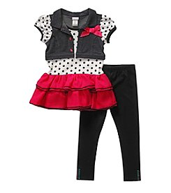Sweet Heart Rose® Girls' 2T-6X Short Sleeve Tee With Vest And Leggings