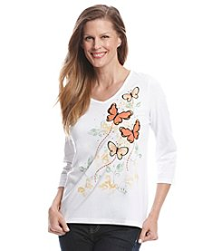 Breckenridge® 3/4 Sleeve V-Neck Embellished Tee