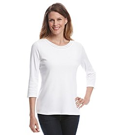 Breckenridge® 3/4 Sleeve Embellished Crew Neck Solid Tee