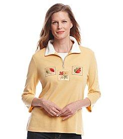 Breckenridge® Embroidered Half Zip Pullover Top