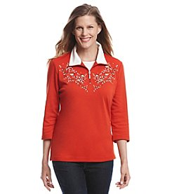 Breckenridge® Embroidered Half Zip Pullover Top