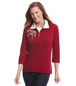 Breckenridge® Embroidery Half Zip Pullover Top