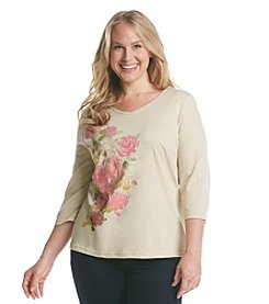 Breckenridge® Plus Size 3/4 Sleeve V-Neck Embellished Tee
