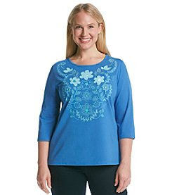 Breckenridge® Plus Size 3/4 Sleeve Crew Neck Embellished Tee