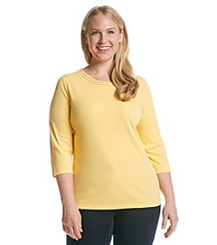 Breckenridge® Plus Size 3/4 Sleeve Embellished Crew Neck Tee