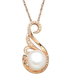 .09 Ct. Cultured Freshwater Pearl Pendant In 10k Rose Gold