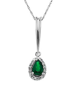 Emerald And White Sapphire Pendant In Sterling Silver