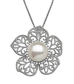 .13 Ct. Cultured Freshwater Pearl Flower Pendant In Sterling Silver