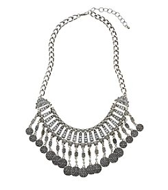 Relativity® Burnished Silvertone Crescent Metal Frontal Necklace