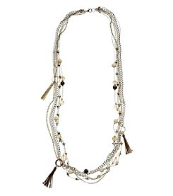 Relativity® Six Row Long Two Tone Chain And Bead Necklace
