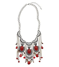 Relativity® Red And Silvertone Oxide Fringe Necklace