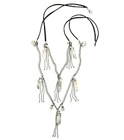 Relativity® Black And Silvertone Two Row Bead And Tassel Necklace