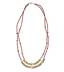 Relativity® Red And Goldtone Two Row Seed Bead Necklace