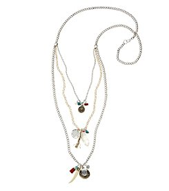 Relativity® Long Two Tone Three Row Layer Necklace