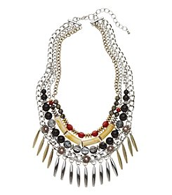 Relativity® Multi Color Three Row Frontal Necklace With Two Tone Metal Fringe
