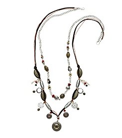 Relativity® Long Multi Beaded Two Row Two Tone Necklace