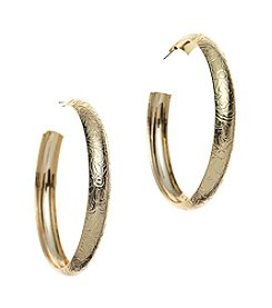 Relativity® Goldtone Post Texture Hoop Earrings