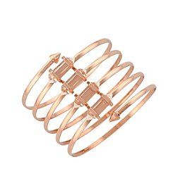 BCBGeneration™ Rose Goldtone Crystal Shard Spiral Bracelet