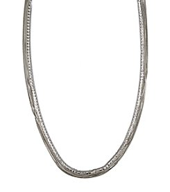 Lonna & Lilly Silvertone And Cubic Zirconia Long Strand Necklace
