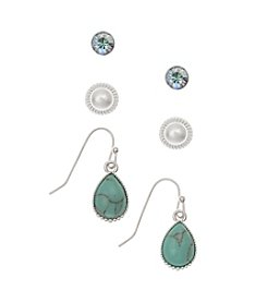 Nine West Vintage America Collection® Silvertone White And Green Earrings Trio