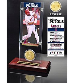 Los Angeles Angels Albert Pujols Ticket and Bronze Coin Acrylic Desktop Display by Highland Mint