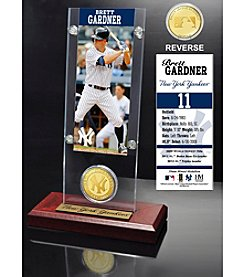 MLB New York Yankees Brett Gardner Ticket and Bronze Coin Acrylic Desktop Display