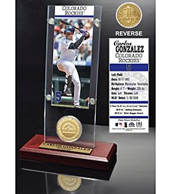 MLB Colorado Rockies Carlos Gonzalez Ticket and Bronze Coin Acrylic Desktop Display