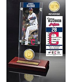 MLB Cleveland Indians Corey Kluber Ticket and Bronze Coin Acrylic Desktop Display