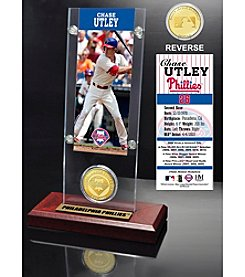Philadelphia Phillies Chase Utley Ticket and Bronze Coin Acrylic Desktop Display by Highland Mint