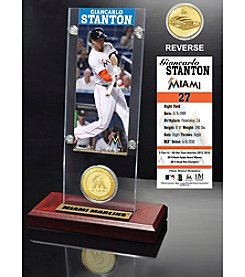 MLB Miami Marlins Giancarlo Stanton Ticket and Bronze Coin Acrylic Desktop Display