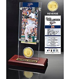 MLB Detroit Tigers Justin Verlander Ticket and Bronze Coin Acrylic Desktop Display