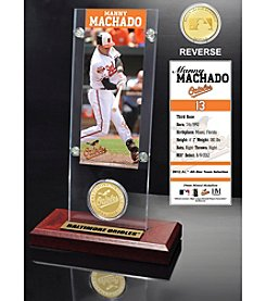 MLB Baltimore Orioles Manny Machado Ticket and Bronze Coin Acrylic Desktop Display
