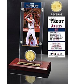 Mike Trout Ticket and Bronze Coin Acrylic Desktop Display
