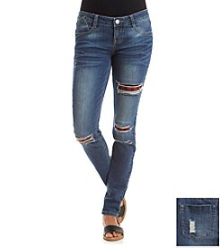 Hippie Laundry Deconstructed Skinny Jeans With Plaid Patches