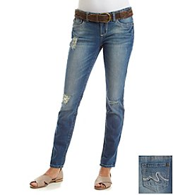 Wallflower® Belted Relaxed Fit Cuffed Boyfriend Jeans