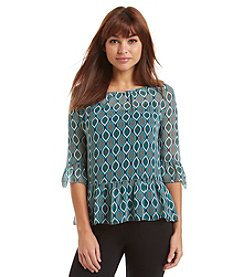 Kensie® Eclipse Print Peasant Top