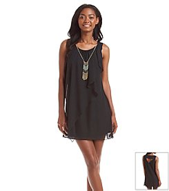 A. Byer A-Line Ruffle Dress With Necklace