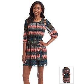 A. Byer Lattice Shoulder Printed Blouson Dress