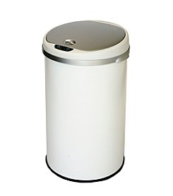 iTouchless Pearl White Deodorizer 8-gal. Round Touchless Trash Can