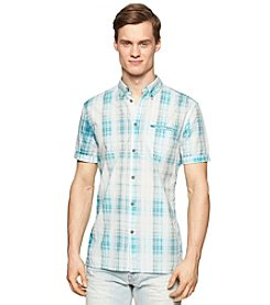 Calvin Klein Jeans Men's Short Sleeve Plaid Button Down Shirt