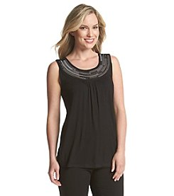 Laura Ashley® Metallic Jeweled Neck Tank