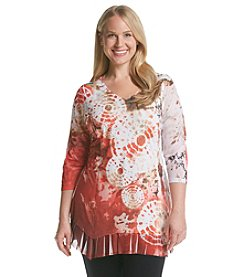 Laura Ashley® Plus Size Tie Dye Rings Tunic