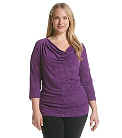 Laura Ashley® Plus Size Dew Drop Drapeneck Top