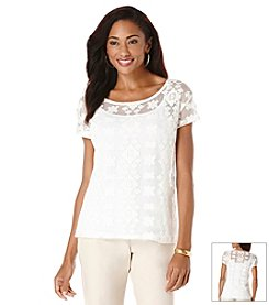 Rafaella® Venice Embroidered Overlay Lace Top
