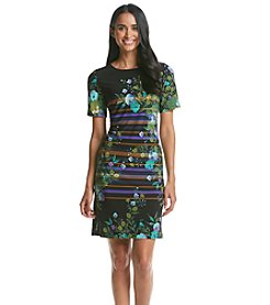 Julian Taylor Stripe and Floral T-Shirt Dress